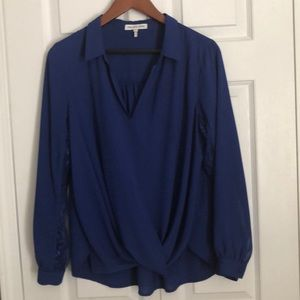 Periwinkle blue collared blouse.